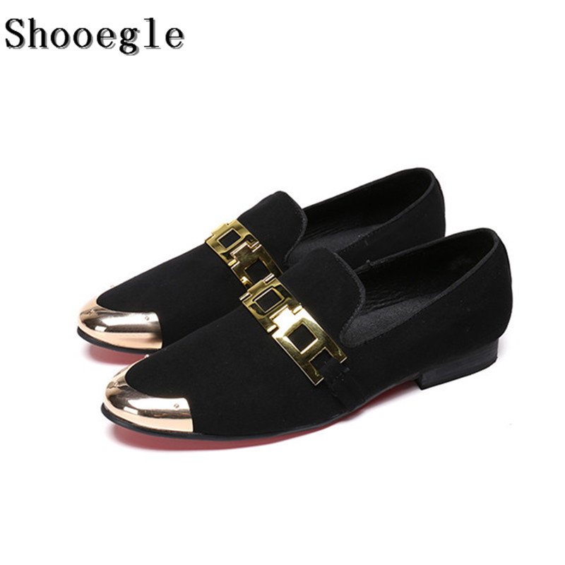 SHOOEGLE Fashion Red Black Suede Metal Toe Men Casual Shoes Breathable Comfort Flat Bridegroom Wedding Shoes Mens Dress Shoes 2017 fashion red black white men new fashion casual flat sneaker shoes leather breathable men lightweight comfortable ee 20