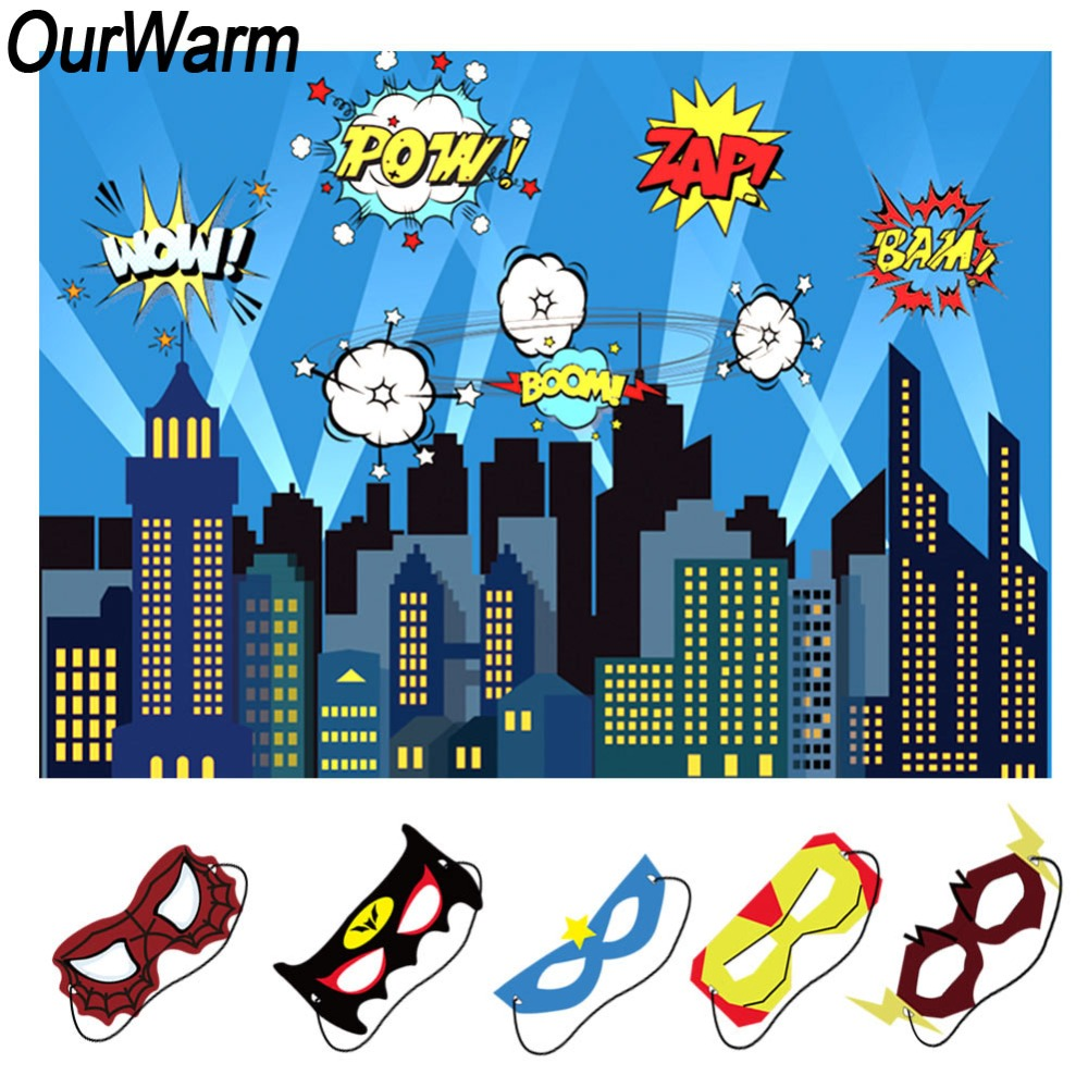 OurWarm Kids Birthday Party Supplies 150X210cm City Night Backdrop with  Superhero Makeup Party Mask Baby Shower Decorations