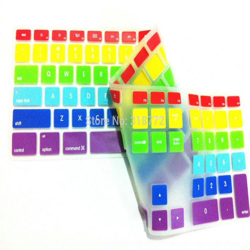 Silicone Keyboard Cover 2pcs Rainbow Computer Desktop Color Skin Protector with a Numeric Keypad for Apple iMac G5/G6 MB110LL/A