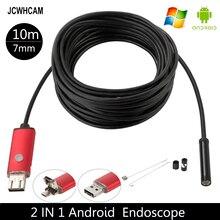 JCWHCAM 10 M Borescope USB Camera Endoscoop 7mm OTG Micro USB Endoscopische Inspectie Camera met 6 LED voor Android/Win7/8/10