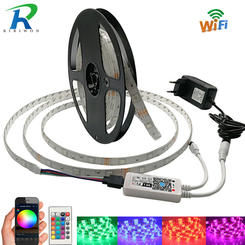 RiRi won RGB LED Strip Licht SMD5050 2835 Waterdichte led Lamp tape diode flexibele lint WiFi controller DC 12 V adapter set