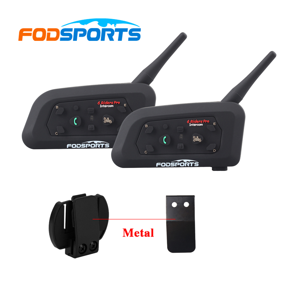 2 pcs Fodsports V6 Pro Motorcycle Helmet Intercom Headset 850mAh 6 riders 1200m Bluetooth Moto Intercomunicador BT Interphone