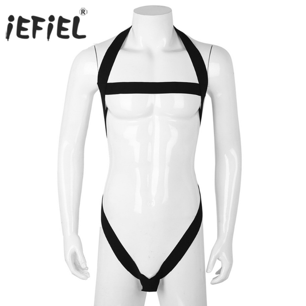 Mens One-piece Lingerie Sissy Panties Halter Hollow Out Strap Gay Sexy Bodysuit Harness Bondage Underwear with Penis O-ring