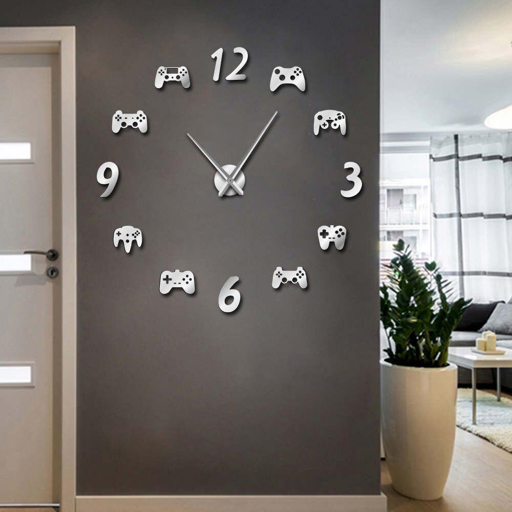 Manette bricolage grande Horloge murale montre moderne jeux vidéo contrôleurs 3d bricolage acrylique miroir Quartz aiguille Horloge livraison gratuite