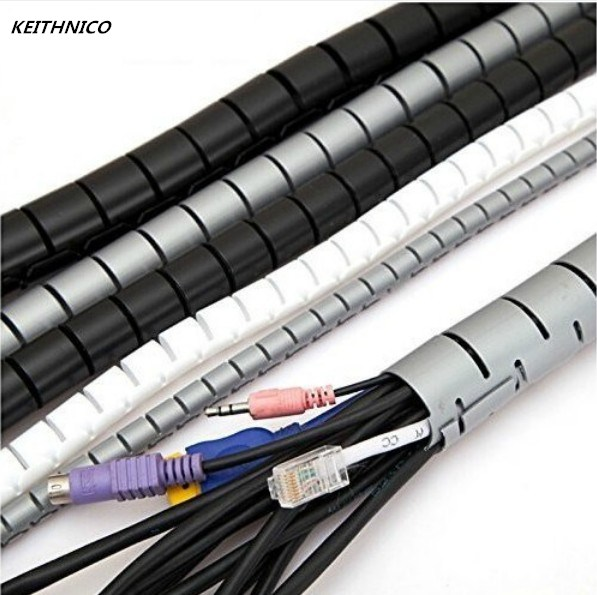 KEITHNICO 1M 3FT Cable Wire Wrap Organizer Spiral Tube Cable Winder Cord Protector Flexible Management Wire Storage Pipe 16mm ugreen cable holder organizer 25mm diameter flexible spiral tube cable organizer wire management cord protector cable winder