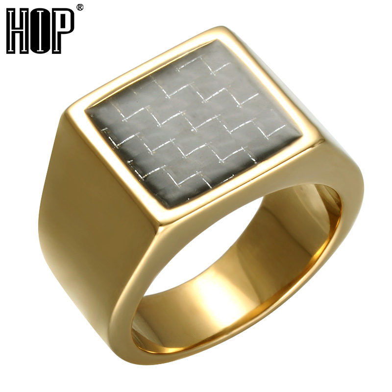 HIP Geometric Square Titainium Ring High Polished Gold Color Stainless Steel Men Sign Rings Fashion Jewelry цена