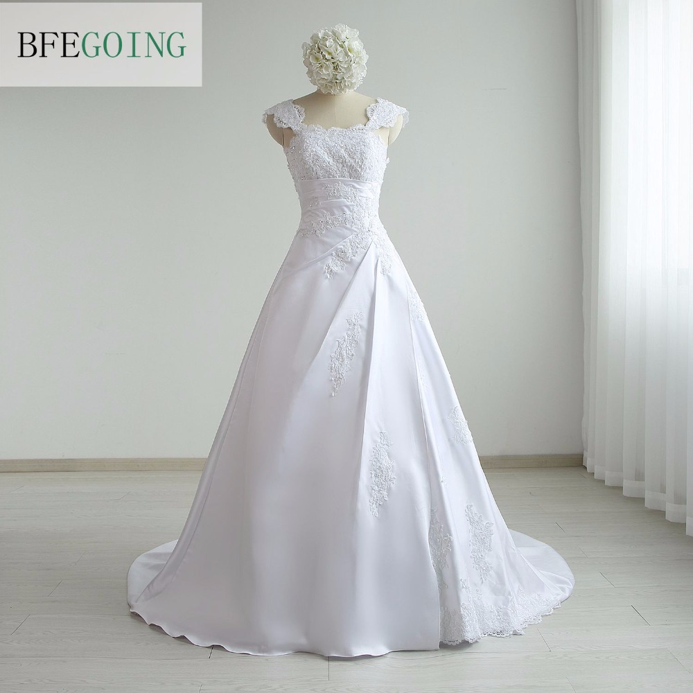 New Arrival Fashion Satin A line wide Straps Appliques Floor Length Chapel Train Wedding dress