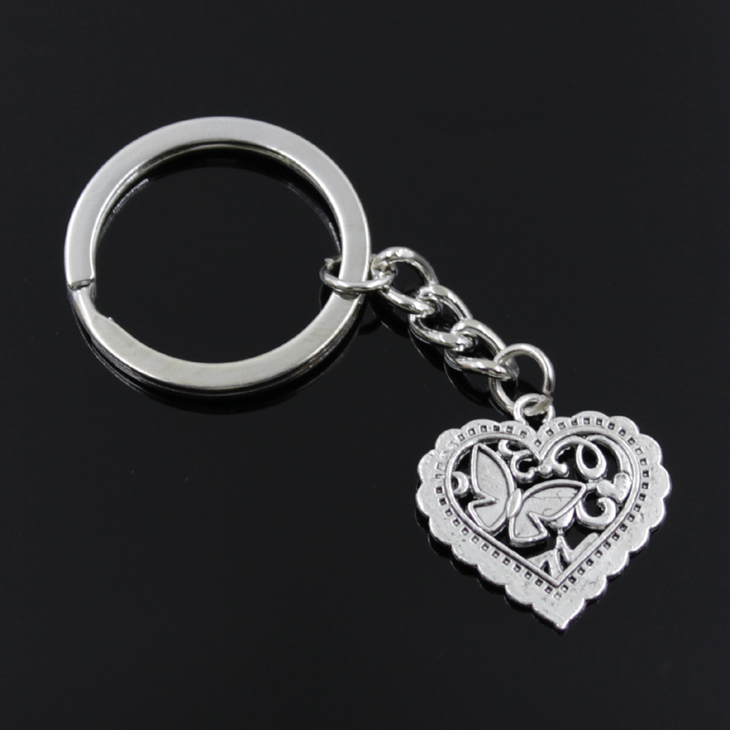 New Fashion Men 30mm Keychain DIY Metal Holder Chain Vintage Heart Butterfly 25x24mm Silver Color Pendant Gift