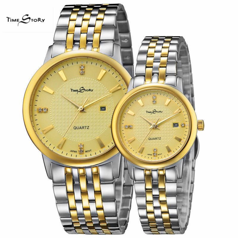 2 pcs Hot sale Lovers' watches fashion Lovers' watches  Stainless Steel Strap watches for woman man Casual Watch free shipping цена