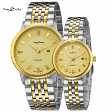 2 pcs Hot sale Lovers' watches fashion Lovers' watches Stainless Steel Strap watches for woman man Casual Watch free shipping