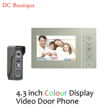 1 set) 4 Inch Display metal surface 1 to 1 Video talk-back home use Door phone access control Door bell intercom free shipping