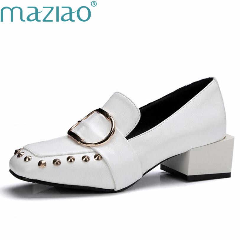 Talla 45, zapatos de tacón alto para mujer, decoración, zapato femenino negro/blanco, MAZIAO, zapatos de talla grande Lolita OL, zapatos de trabajo concisos para mujer