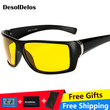 High Quality Yellow Night Vision For Male Driving Polarized Sunglasses Square Mens Driver Safety Eyewears Cloudy Fog Day