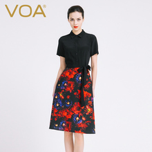 T-shirt Black Dresses For Women Silk 2017 New Fashion VOA Brand Office Vestido A-Line Print Knee-Length Blouse Robe A6813