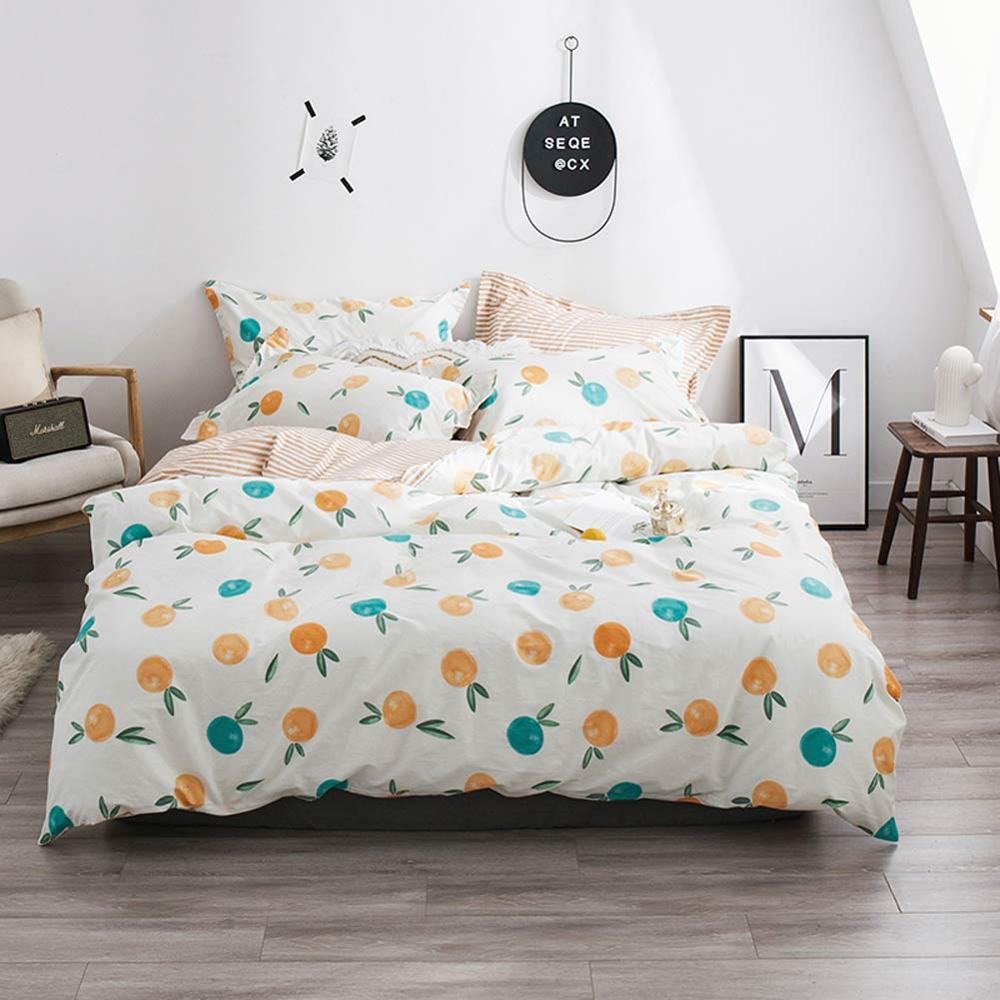 2019 Orange Fruit Leaves Cartoon Bed Cover Soft Cotton Bedlinens Twin Queen King Duvet Cover Set Bedspread Pillowcases