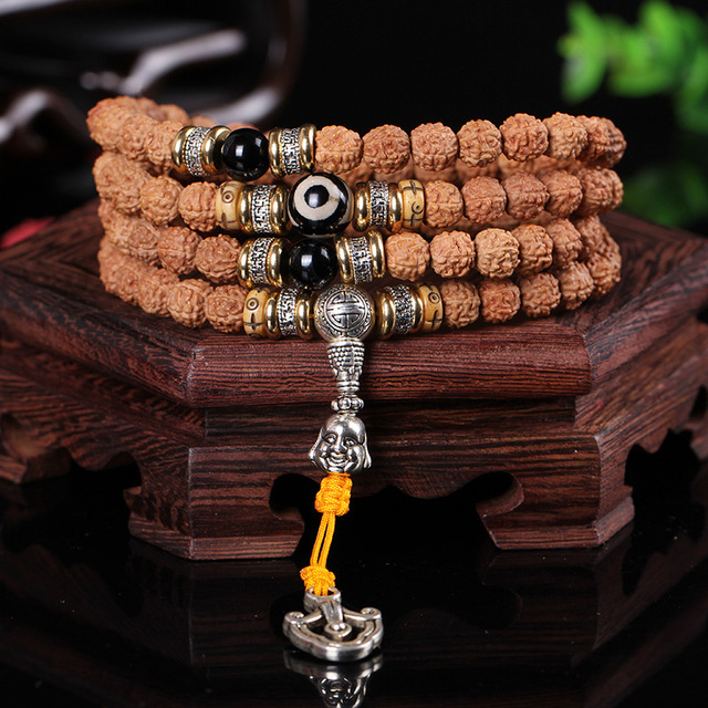 Original Black Agate Accessories Vajra Bodhi 108 Seed Folk Style Tibetan Rosary Buddhist Prayer Beads