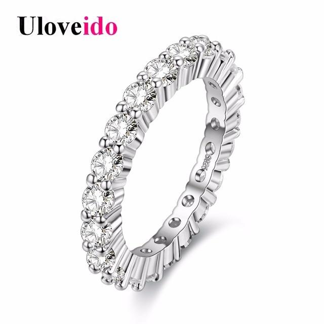 Uloveido Womens Fashion Rings Cubic Zirconia Wedding Rings Zircon Women Jewelry Brincos Bijoux Bague Dropshipping 15%off Y041
