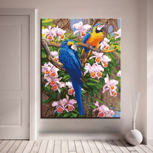 The Parrot Standing Pink Flower Tree Picture By Numbers Kits Hand painted Oil Style On Linen Canvas Unique Gift DIY Painting