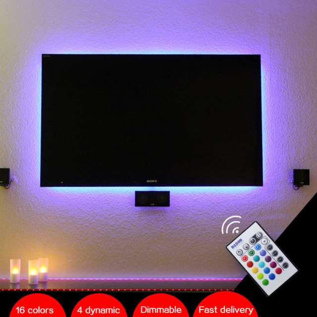 "BASON USB Operated RGB LED TV Backlighting Dimmable LED strip for 32' 40' 43"" 48"" 50"" 55"" 60"" inch TV / Monitor with IR Remote"