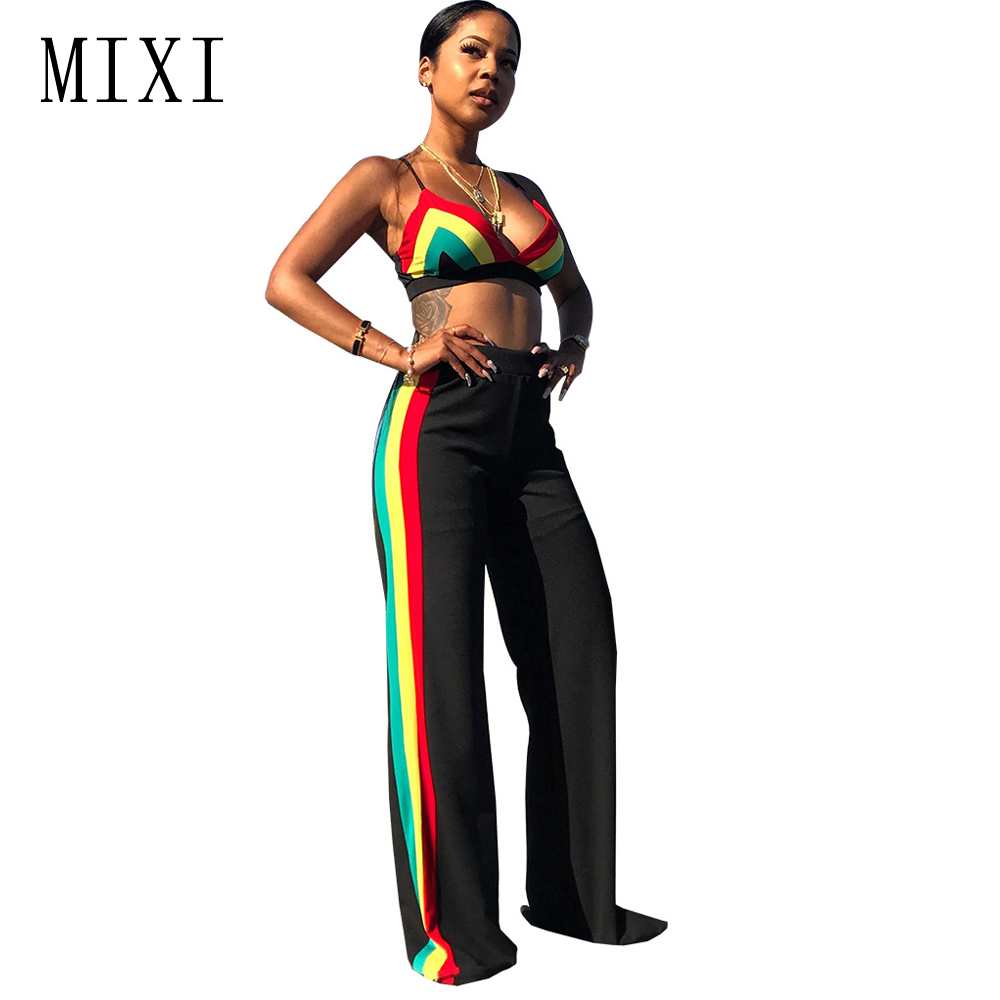 MIXI Summer Jumpsuits Women Crop Top And Long Pants Sexy Two Pieces Jumpsuit Striped V Neck Sleeveless Casual Wide Leg Jumpsuits