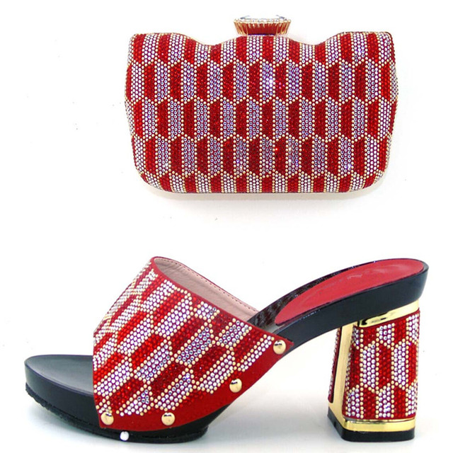 44102418790 US $78.0 |TH16 64 Fashion Nigeria Design Woman Shoes And Bag Set African  High Heels Shoes With Bag For Evening Party Low Price Red Color -in Women's  ...