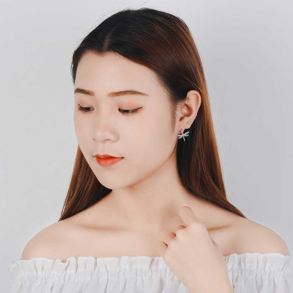 ใหม่ออกแบบ DRAGONFLY STUD ต่างหูคริสตัลต่างหูผู้หญิงเครื่องประดับเกาหลี Femme 2019 kolczyki