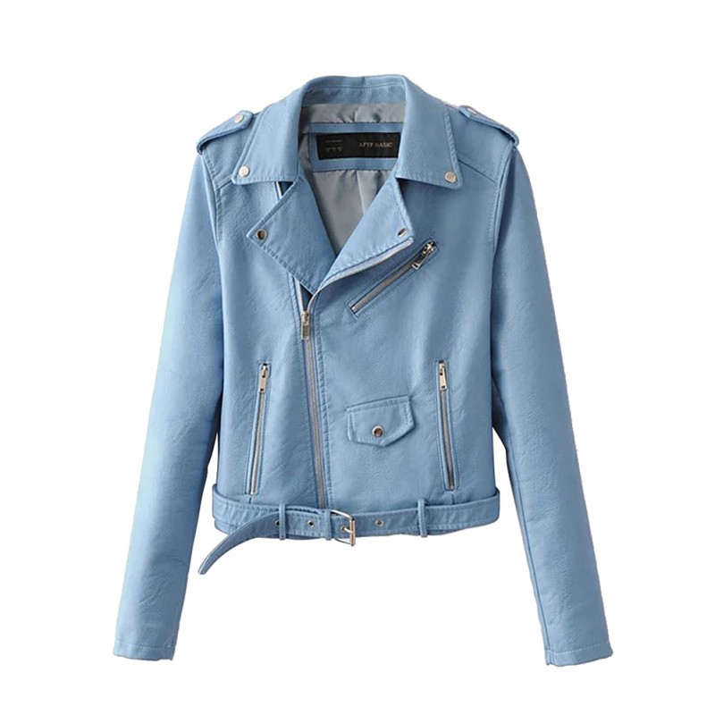 2017 New Spring Good Quality Fashion Bright Colors Ladies   Basic   Street Women Short PU Leather   Jacket