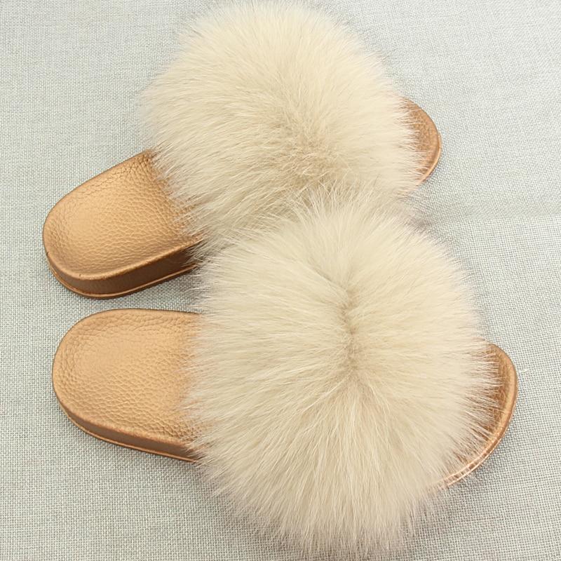 JKP Winter Warme Vrouwen Bont Slippers Mode Echte Vossenbont Strand - Baby schoentjes - Foto 2