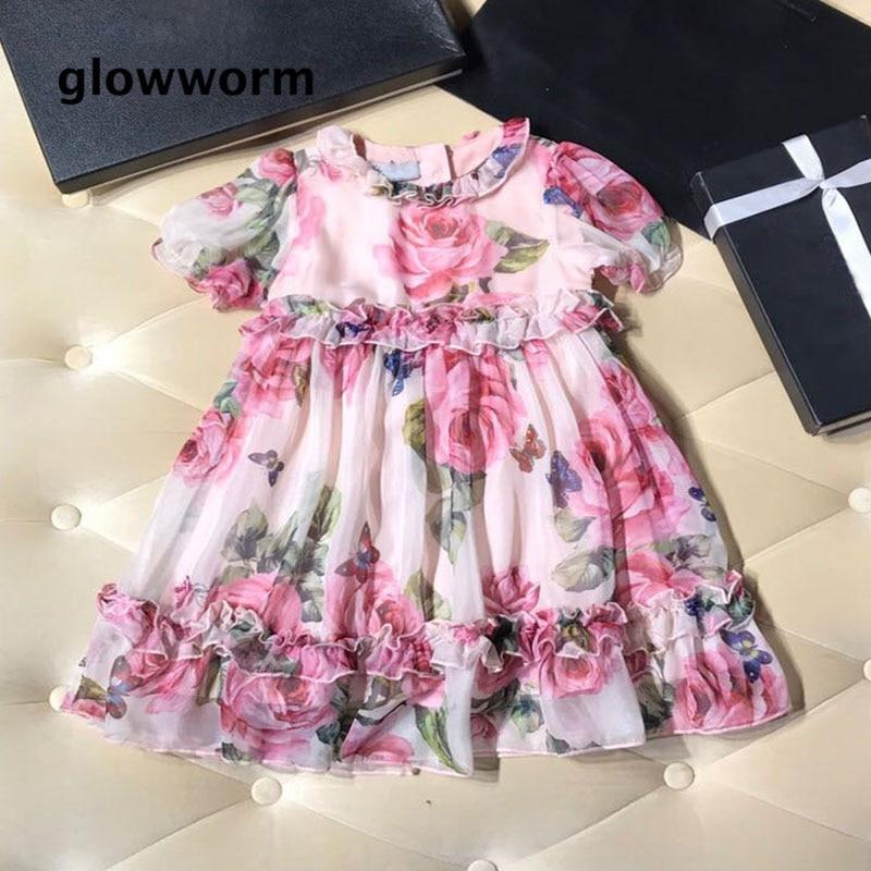 GlowwormKids 2018 Summer New Girls Clothes Silk Rose FLowers Girls Dress Runway Short Sleeve Flouncing 2-7T hs055