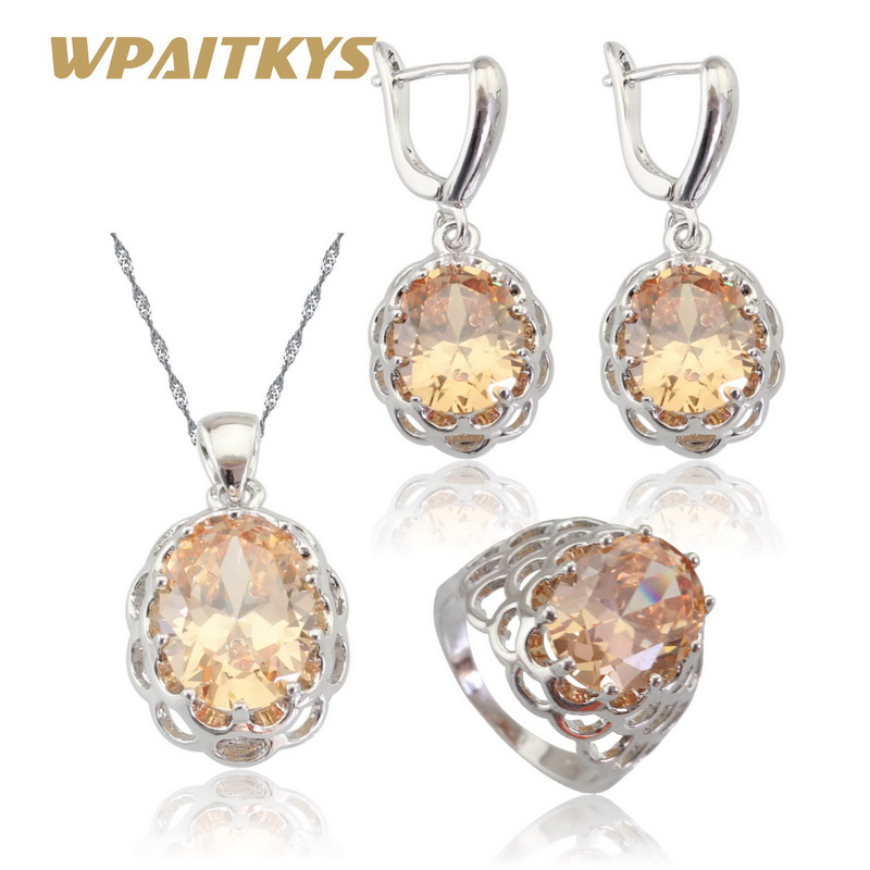 Champagne Orange Cubic Zirconia Silver Color Jewelry Sets For Women Necklace Pendant Earrings Rings Free Gift Box WPAITKYS