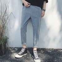 Летние мужские свободные 9 обтягивающие штаны брюки тонкие штаны-шаровары мужской плед брюки длиной до щиколотки