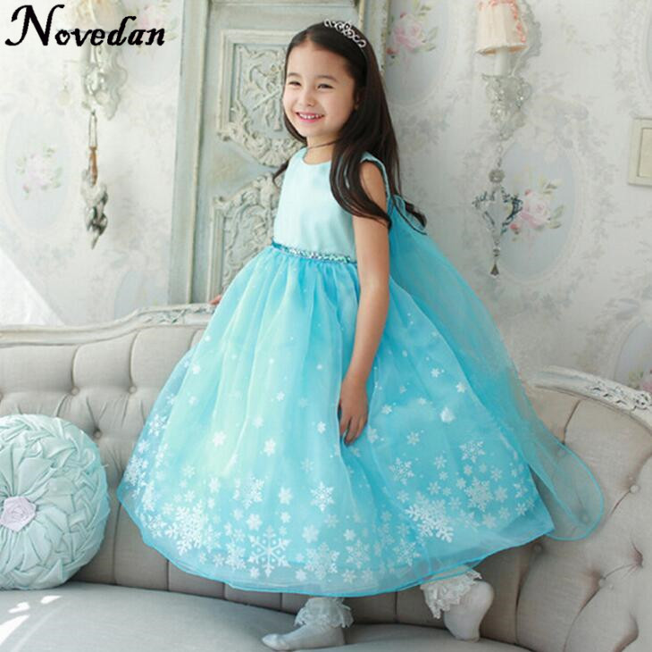 Little Girl Dresses Summer Princess Snowflake Evening Ball Gown Kid's Party Dress Children Clothing Snow Queen Cosplay Costume