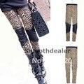 1 PC Women ladies Sexy Leopard Pants Faux Leather Zipper Patchwork Thin Stretch Leggings