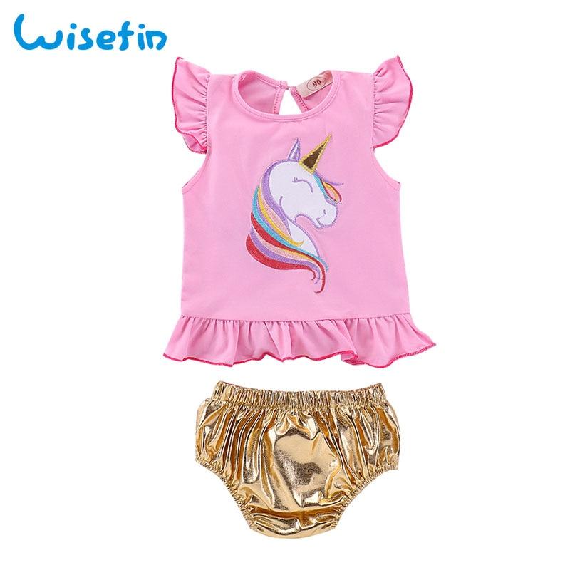4ae2535a51e45 Wisefin infantile fille vêtements ensembles court Licorne impression ...