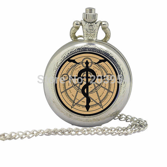 New 35mm Silver movie Fullmetal Alchemist orange Magic Pocket Watches 12pcs/lot Necklace steampunk pendant handmade jewelry men