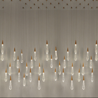 GETOP Gold Water Drop Bubble Crystal Creative Pendant Light European style Luxury LED Lamps Glass Indoor Lighting Restaurant
