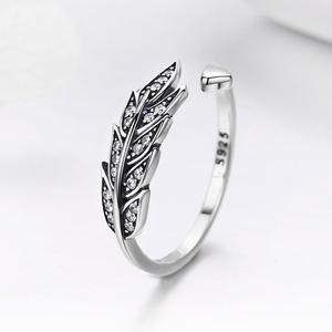 Image 2 - 華やかな葉 925 スターリングシルバー調節可能なリング女性のファッションジュエリーバレンタインデーのギフト