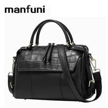 MANFUNI DHL/EMS SEND Top-Handle Bags real leather-based luggage girls model classic Boston bag 2017 Shoulder/Tote/Crossbody Bag 0715