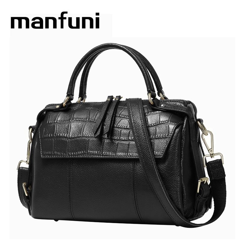 MANFUNI DHL/EMS SEND Top-Handle Bags genuine leather bags women brand vintage Boston bag 2018Shoulder/Tote/Crossbody Bag 0715
