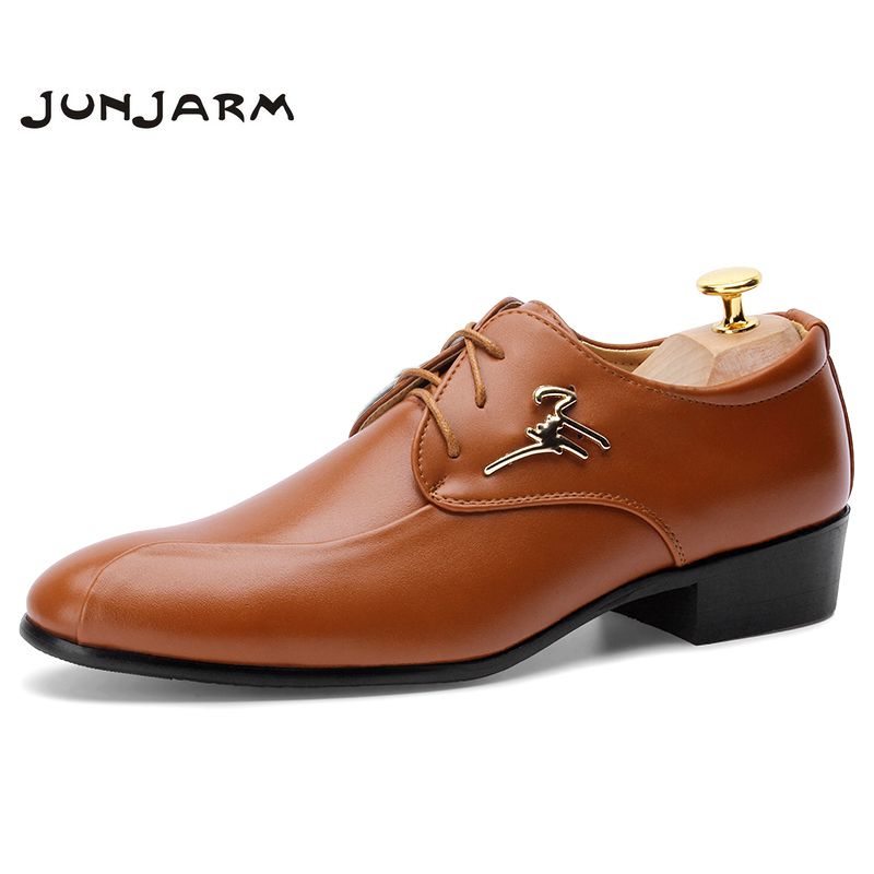 JUNJARM 2018 Mens Dress Shoes Fashion Pointed Toe Men Oxfords Shoes Casual Breathable Lace-up Black Brown Men Business Shoes new fashion men dress shoes men s business pu leather shoes pointed toe lace up male casual shoes brown black leather oxfords