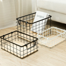 Nordic Iron Cosmetic Storage Basket Desktop Makeup Cloth Office Articles Organizer Box Bathroom Sundries Home Container цена