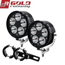 2pcs 12V 50W U3 Driving Fog Head Light LED Headlight Spot Moto HeadLamp motocicleta for Motorcycle Motorbike with clamp bar