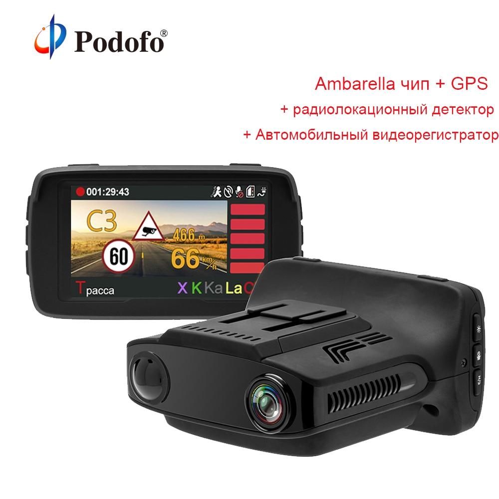 Podofo 3 en 1 Ambarella A7 Voiture DVR Détecteur De Radar avec GPS Caméra FHD 1080 p Registraire Voix Russe Speedcam anti Détecteur De Radar