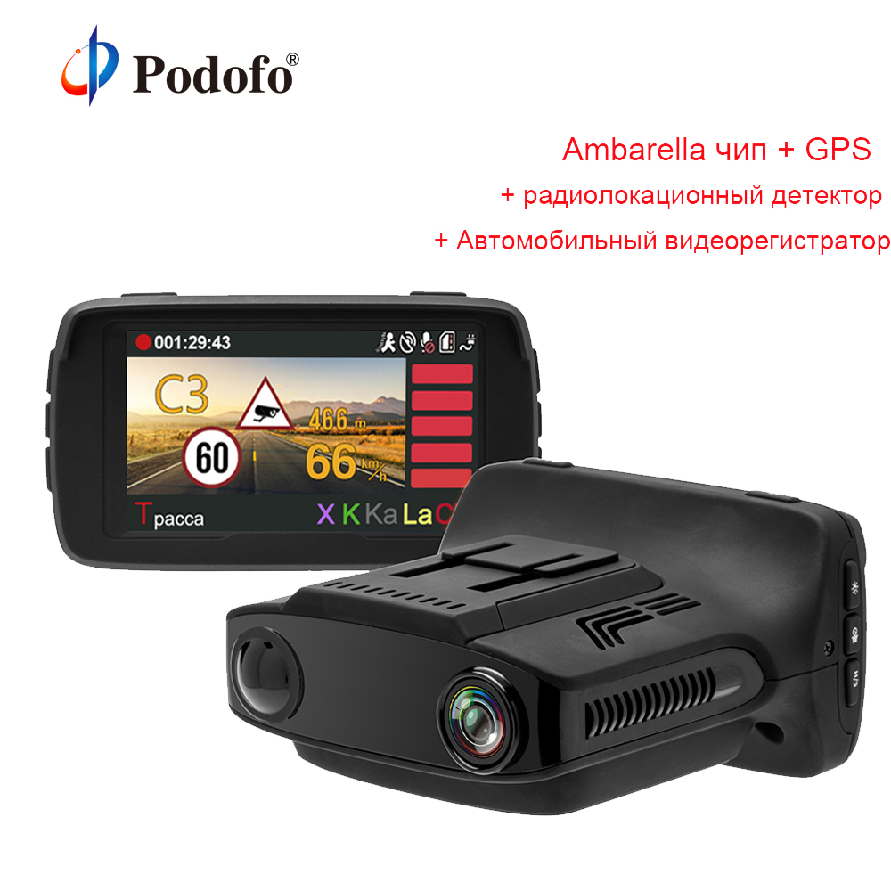 Podofo 3 in 1 Ambarella A7 Car DVR Radar Detector with GPS Camera FHD 1080P Registrar Russian Voice Speedcam Anti Radar Detector
