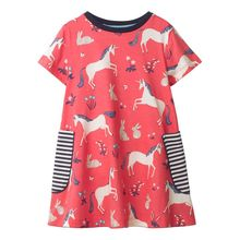 Girls Cartoon Summer Dresses Cotton Casual Dresses Kids Clothing Baby Clothing Summer Children Animal Printed Kids School Dress
