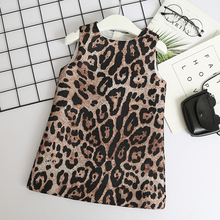 Girls Dress New Kids Clothes Fashion Sleeveless Leopard Party for Girl Vestido Robe Fille 3 7 Years