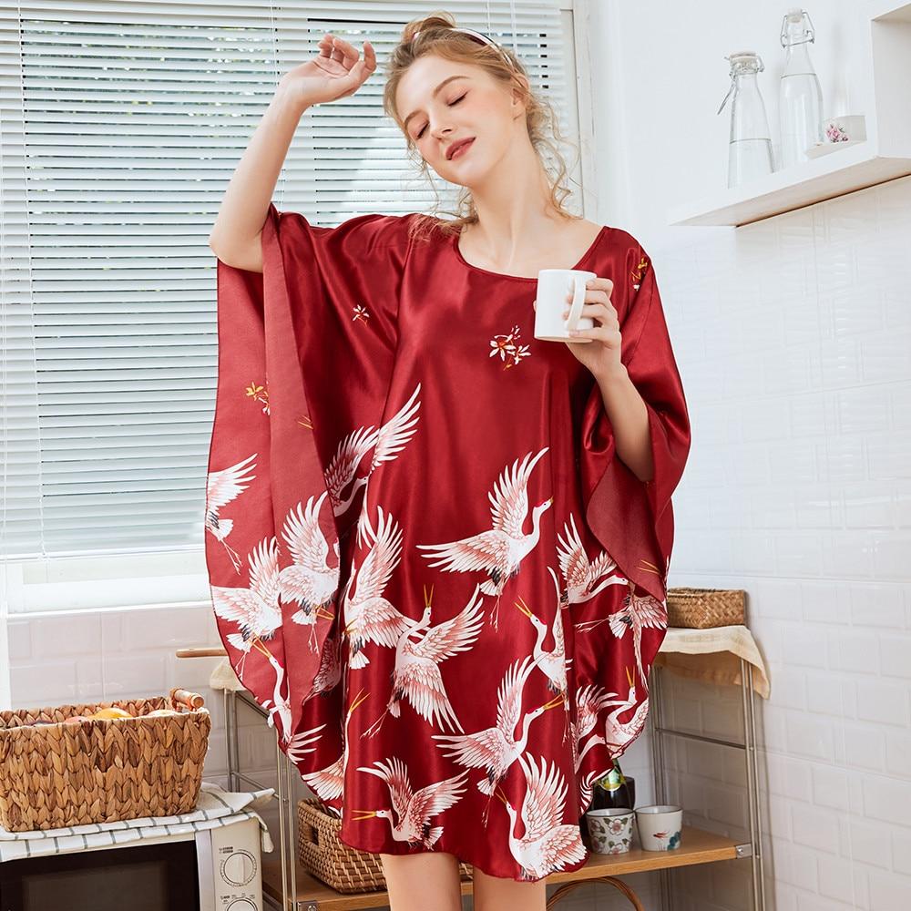 New Red Women Sexy Satin Nightwear Nightgown Plus Size Loose Kaftan Bath Gown Nightdress Summer Sleepwear Wedding Night Dress