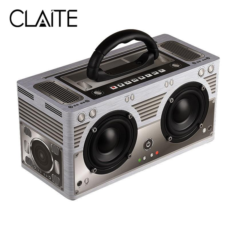 CLAITE W9 Bluetooth Speaker Wireless Portable Outdoor Retro Speaker Classic Dual Loudspeaker 3000mah TF AUX FM Radio Speaker nobsound bl 3 hifi full range retro wood wireless portable bluetooth speaker radio fm 18w 2 3d dual loudspeaker