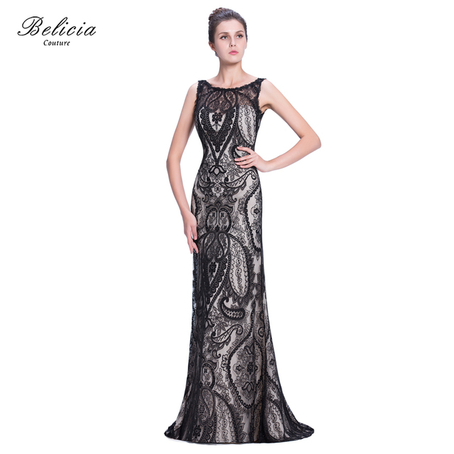Belicia Couture Elegant Sleeveless Beading Mermaid Party Prom Evening Dress  Formal Dresses See Trough Back e520d5ff74d9