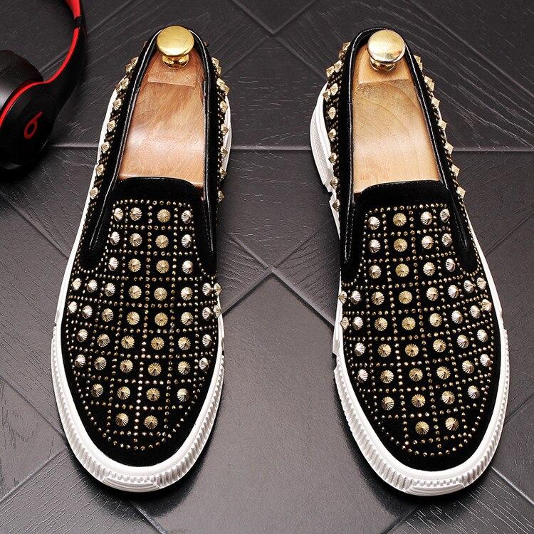 عالية الجودة الرجال الفاخرة جولة اصبع القدم برشام منصة المتسكعون عارضة الشقق أحذية مصمم الذكور حفلة موسيقية الطلاب أحذية رسمية-في أحذية رجالية غير رسمية من أحذية على  مجموعة 3